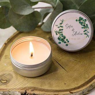 Соевая ароматическая свадебная свеча Подарки для гостей