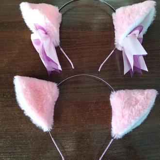 Розовые меховые ушки на обруче, кошачьи ушки, неко ушки, ушки кошки.