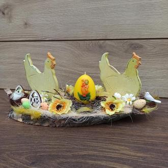 Пасхальная композиция с курочками и со свечой на стол