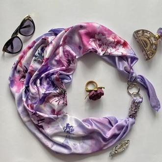 """Шелковый  платок  """"Лиловые  облака"""", Премиум коллекция ,шарф-колье, шейный платок"""