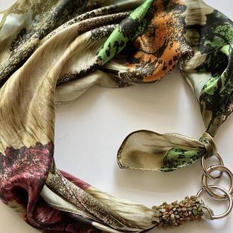"""100% шелковый платок """"Летний сад"""", шарф-колье, шарф-чокер, шейный платок"""