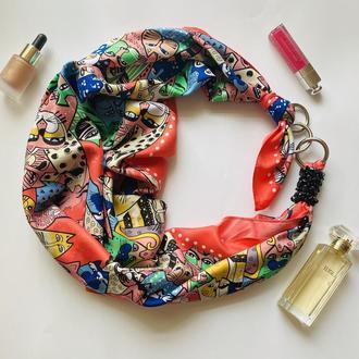 """""""Алиса"""" атласный платок, шарф-колье, шарф-чокер, шейный платок, подарок женщине"""