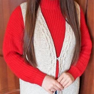 Кардиган - Жилет в'язаний стильно модно актуально комфортно трикотаж офіс бавовна