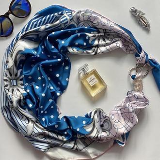 """Большой шелковый платок """"Морской круиз"""" от бренда my scarf, подарок женщине. Премиум коллекция!"""