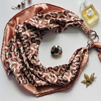 """Шелковый платок """"Розовое золото"""" от бренда my scarf, подарок женщине. Премиум коллекция!"""