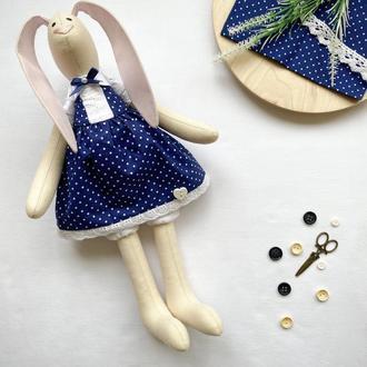 Зайчик Тільда в синьому платтячку