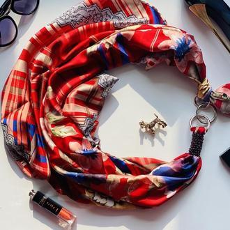 """Шелковый платок  """"Признание в любви"""" от бренда my scarf, шейный платок, подарок женщине"""