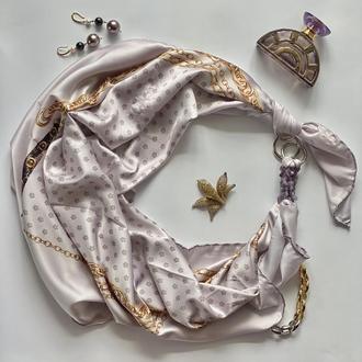 """Шелковый платок """"Золотой шелк"""" от бренда  my scarf,  подарок женщине"""