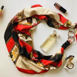 """""""Яркая вспышка"""", Атласный платок My Scarf, шейный платок, подарок женщине"""