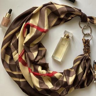 """Атласный шарф """"Лондонский стиль"""", платок, шарф-колье, шарф-чокер, шейный платок"""