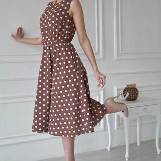 Платье с юбкой полусолнце из натурального льна