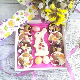 Пасхальный набор из шоколада, зайка, церковь, цукаты, орехи 200гр