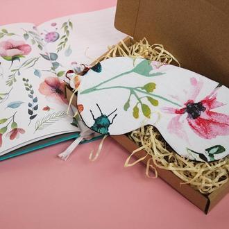 Маска для сна цветы, подарок маме, цветочная повязка на глаза, маска в самолет, маска для поездок