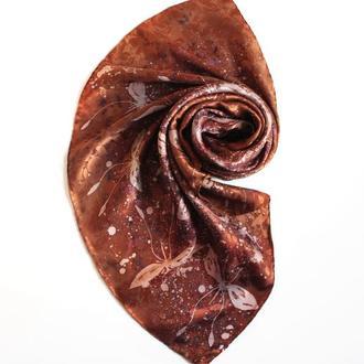 Золотистый шелковый платок, жаккардовый платок ручной росписи с мотыльками, батик платок в подарок