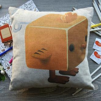 Декоративна подушка із конопляної тканини Заводне Курча.