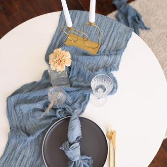 Марлевые с красивой текстурой раннеры для свадебного декора.Цвет ПЫЛЬНО-СИНИЙ(DUSTY BLUE)
