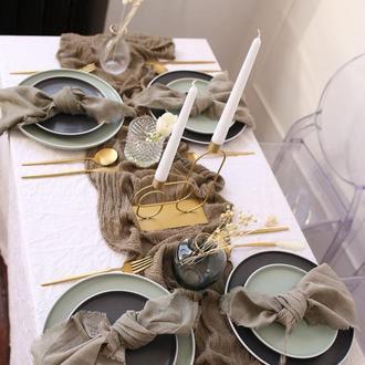 Марлевые с красивой текстурой раннеры для свадебного декора.Цвет ОЛИВКОВАЯ РОЩА (OLIVE GROVE)