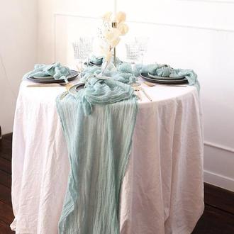 Марлевые с красивой текстурой раннеры для свадебного декора.Цвет БЛЕДНО-ЗЕЛЕНЫЙ (PALE GREEN )