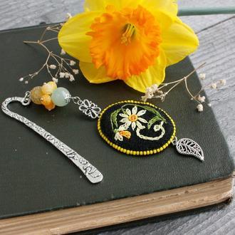 Оригинальная закладка для книг Металлическая закладка с агатом и ониксом Именной подарок для мамы