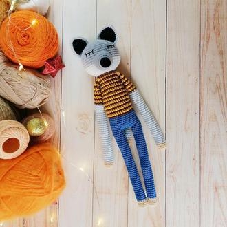 Іграшка - сплюшка вовк, в'язана м'яка іграшка ручної роботи, іграшка для хлопчика чи для дівчинки