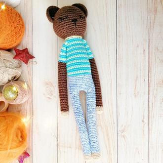 Іграшка ведмедик-сплюшка ручної роботи для хлопчика чи для дівчинки