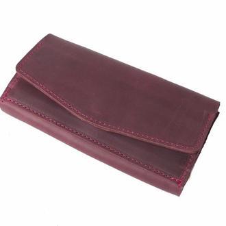 Кожаный кошелек на кнопке. 08010/бордо