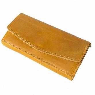 Кожаный кошелек на кнопке. 08010/желтый