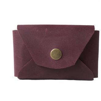 Кожаный кошелек на кнопке. 08013/бордо