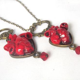 Кулон сердце Анатомическое сердце  с подвеской 2
