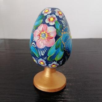 Пасхальное расписное яйцо из дерева высота 14 см