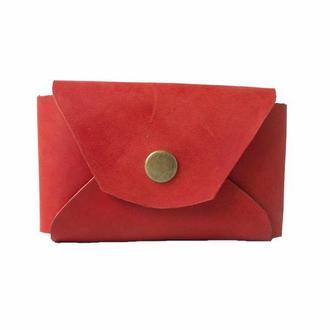 Кожаный кошелек на кнопке. 08013/красный