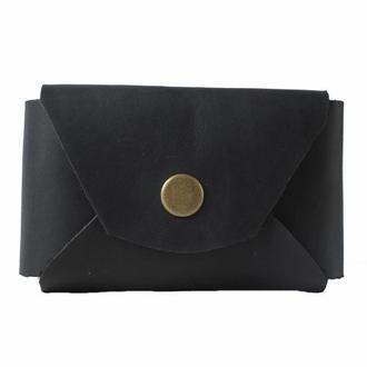 Кожаный кошелек на кнопке. 08013/черный