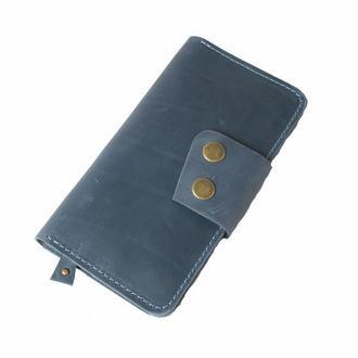 Кожаный кошелек на кнопках. 08014/голубой
