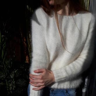 молочний пухнастий светр з пуху норки м'який светр, жіночий зимовий светр