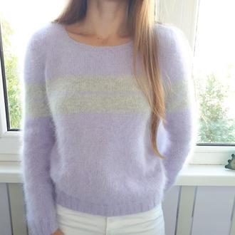 жіночий пухнастий светр з пуху норки, бузковий светр, смугастий светр