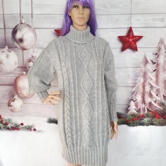 платье теплое вязаное женское серого цвета свободного кроя размер 44-46