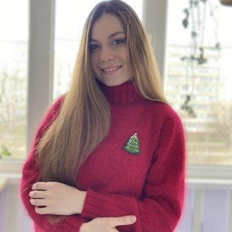 женский свитер из пуха норки ягодного цвета размер 46, пушистый свитер