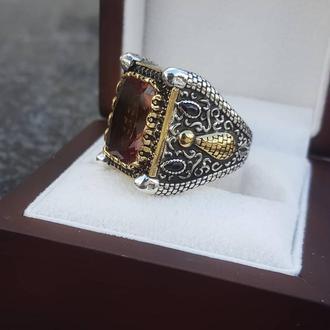Перстень печатка з каменем Султанит Хамелеон Діаспор ручної роботи з срібла