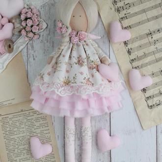 Кукла интерьерная в белом платье. Ангел в стиле Тильда