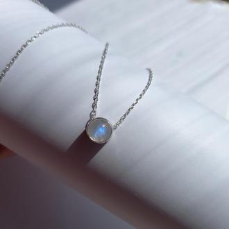Серебряный кулон с лунным камнем, колье с лунным камнем, подвеска с лунным камнем, подарок