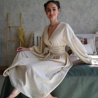Льняное платье оверсайз с широким поясом Linen Oversized Dress