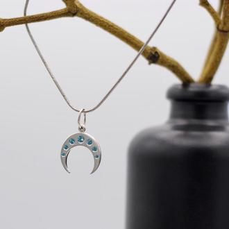 Серебряная Лунница с топазами