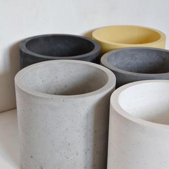 Горшок из бетона Цилиндр 25*25 см. Кашпо для цветов. Вазон для растений.