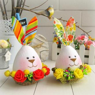 Набор Пасхальных кроликов в корзинках, пасхальный декор, зайцы-яйца