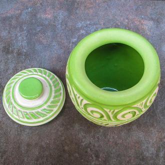 Цукорниця зелена різьблена