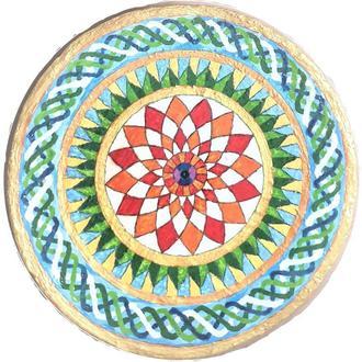 """Декоративная тарелка диаметром 40 см """"MARMARIS""""  шамотной триполской глины станет изысканным"""
