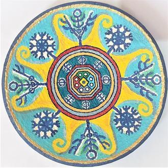 """Блюдо керамика тарелка 37 см """"vegvisir"""" настенная большая металлическая масленная краска"""
