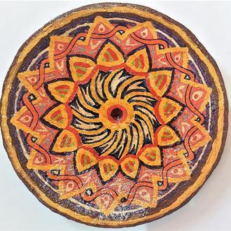 """Тарелка 40 см керамика настенная большая """"Солнцеворот"""" Блюдо керамическое"""