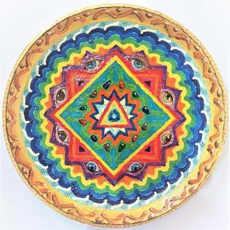 """Блюдо металлическая тарелка """"Квадратура круга"""" 40-42 см настенная большая"""