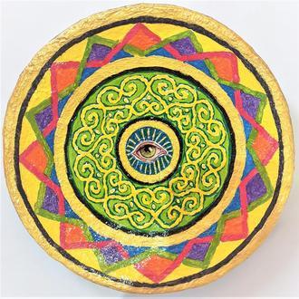 """Декоративная тарелка диаметром 42 см """"Солнца Сон""""  шамотной трипольской глины станет изысканным"""